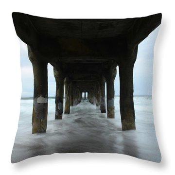 View From Below Manhattan Beach Pier Throw Pillow by Bob Christopher