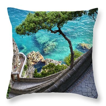 View From Capri.italy Throw Pillow by Jennie Breeze