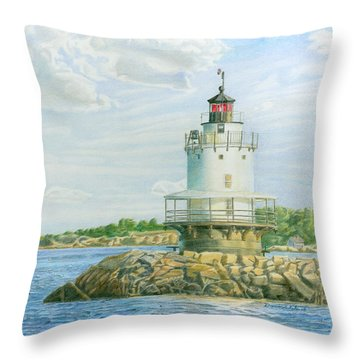 View From Casco Bay Ferry Throw Pillow