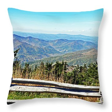 View From Mt. Mitchell Summit Throw Pillow