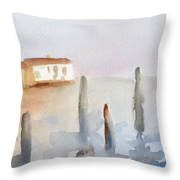 View From Murano Watercolor Painting Of Venice Throw Pillow
