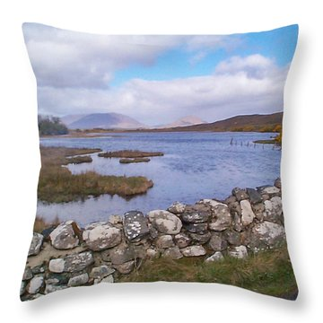 Throw Pillow featuring the photograph View From Quiet Man Bridge Oughterard Ireland by Charles Kraus