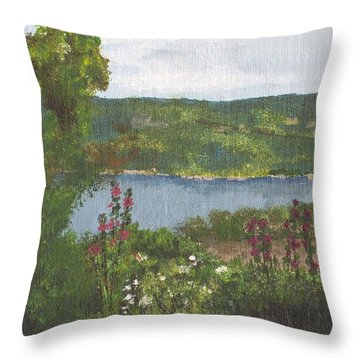 View From The Garden Throw Pillow by Cynthia Morgan