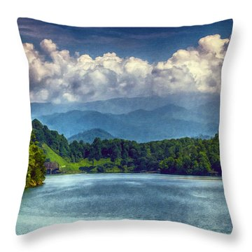 View From The Great Smoky Mountains Railroad Throw Pillow