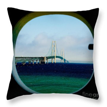 View From The Mackinac Light Throw Pillow by Nick Zelinsky