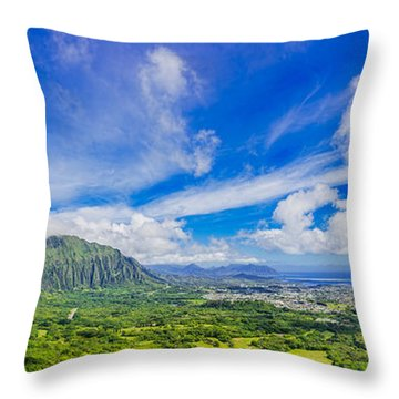 Throw Pillow featuring the photograph View From The Pali Lookout by Aloha Art