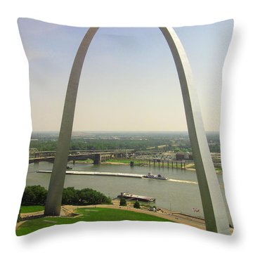 View From The Top Of The Riverfront Throw Pillow by Garry McMichael