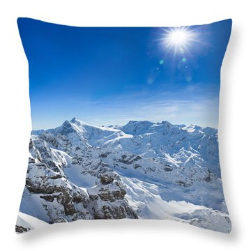 View From Titlis Mountain Towards The South Throw Pillow by Carsten Reisinger