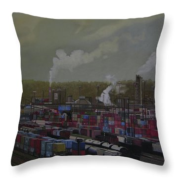View From Viaduct Throw Pillow by Thu Nguyen
