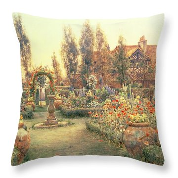 View Of A Country House And Garden Throw Pillow