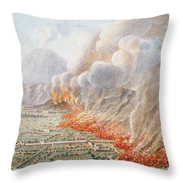 View Of An Eruption Of Mount Vesuvius Throw Pillow