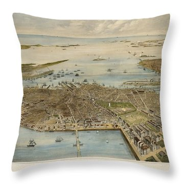 View Of Boston July 4th 1870 Throw Pillow