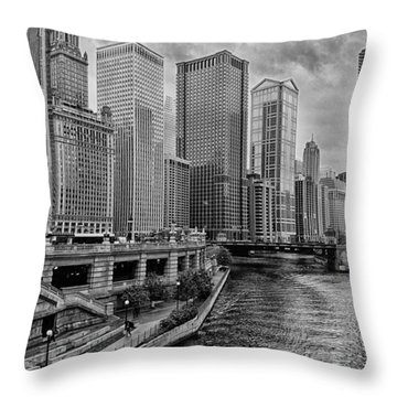 View Of Chicago River Throw Pillow by Mike Burgquist