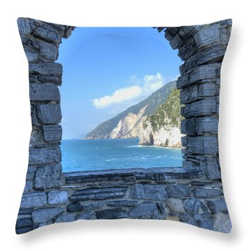 View Of Cinque Terre From Portovenere Throw Pillow