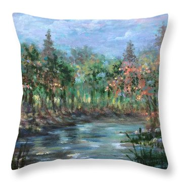 A Creek's View Throw Pillow