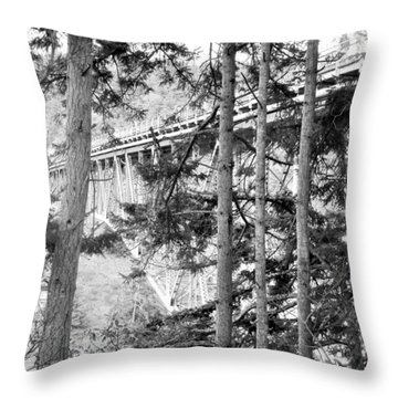 View Of Deception Pass Bridge Black And White Throw Pillow