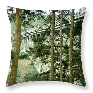 View Of Deception Pass Bridge From Down Under Throw Pillow
