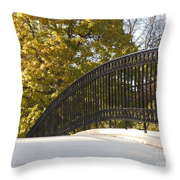View Of Fall Colors From Footbridge - M Landscapes Fall Collection No. Lf20 Throw Pillow
