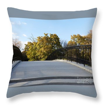View Of Fall Trees From Footbridge - M Landscapes Fall Collection No. Lf21 Throw Pillow