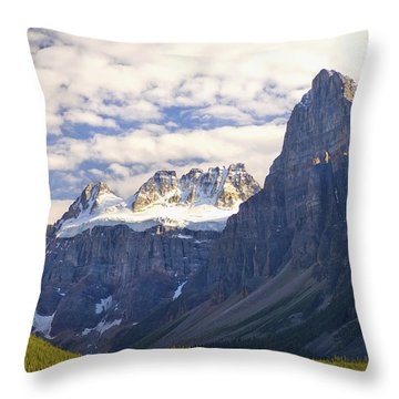 View Of Glacial Mountains And Trees In Throw Pillow by Laura Ciapponi