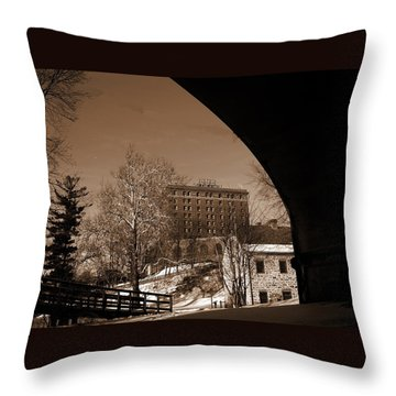 View Of Hotel Bethlehem From Colonial Industrial Quarter - Sepia Throw Pillow