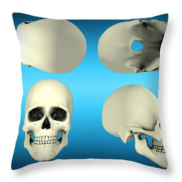 View Of Human Skull From Different Throw Pillow by Stocktrek Images
