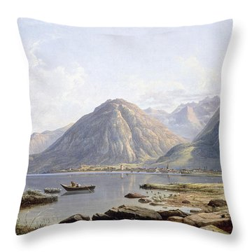 View Of Lake Geneva With The Town Of Villeneuve Throw Pillow by Francis Danby