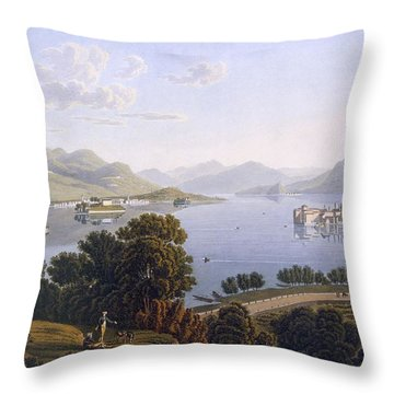 View Of Lake Maggiore And The Borromean Throw Pillow by Swiss School