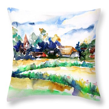 View Of Ludorf Over The Meadows  Throw Pillow by Barbara Pommerenke