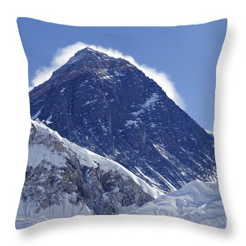 View Of Mount Everest From The Summit Of Kala Pathar In The Everest Region Of Nepal Throw Pillow by Robert Preston