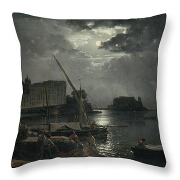 View Of Naples In Moonlight Throw Pillow