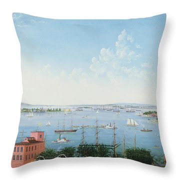 View Of New York Harbor From Brooklyn Heights Throw Pillow
