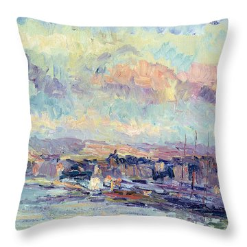 View Of Paris Throw Pillow by Albert Charles Lebourg