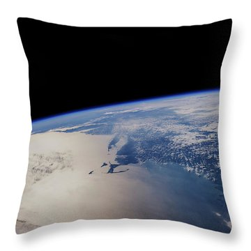 View Of Planet Earth From Space Showing Throw Pillow