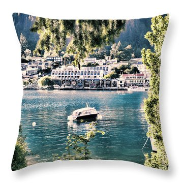 View Of Queenstown  Throw Pillow by Karen Lewis