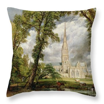 View Of Salisbury Cathedral From The Bishop's Grounds Throw Pillow by John Constable