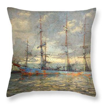 View Of Schooners At Anchor In A Cornish Estuary Throw Pillow