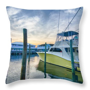View Of Sportfishing Boats At Marina Throw Pillow