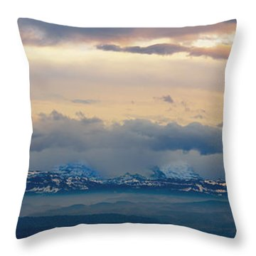 View Of The Alpsjura Switzerland Throw Pillow by Yves Marcoux
