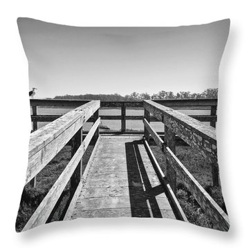 View Of The Elkhorn Slough From A Platform.  Throw Pillow by Jamie Pham