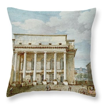 View Of The Facade Of The Theatre Italien Salle Favart  Throw Pillow