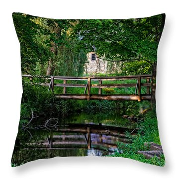 View Of The Grist Mill At Waterloo Village Throw Pillow