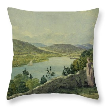 View Of The Hudson Circa 1817 Throw Pillow by Aged Pixel