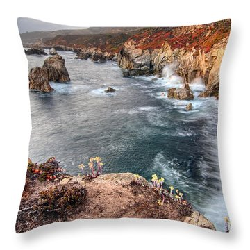 View Of The Rocky Coast From Soberanes Point In Garrapata State  Throw Pillow