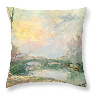 View Of The Seine Paris Throw Pillow by Albert Charles Lebourg