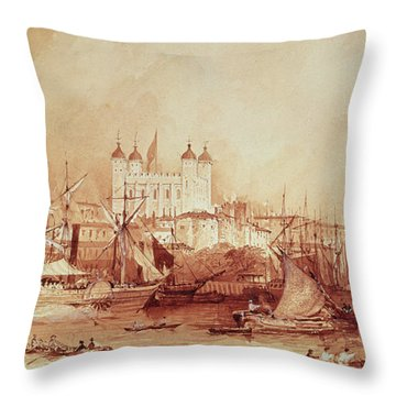 View Of The Tower Of London Throw Pillow by William Parrott