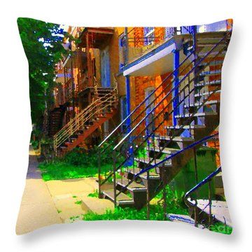 View Of Verdun Steps Stairs Staircases Winding Through Summer  Montrealstreet Scenes Carole Spandau Throw Pillow by Carole Spandau