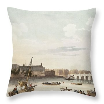 View Of Westminster And The Bridge Wc On Paper Throw Pillow by English School