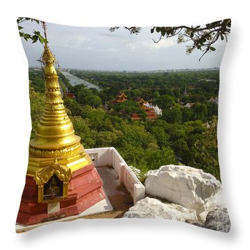Throw Pillow featuring the photograph View Over Ancient City Of Mandalay Aungmyaythazan From Mandalay Hill Mandalay Burma by Ralph A  Ledergerber-Photography