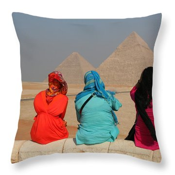 Throw Pillow featuring the photograph Viewing The Pyramids by Laurel Talabere